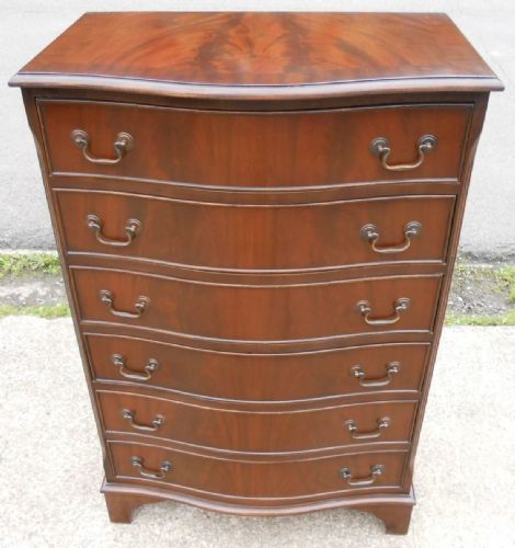 Mahogany Tall Serpentine Front Chest of Drawers